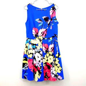 Taylor NWT Blue Floral Pocket Sleeveless Dress 14